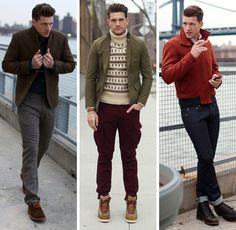 From Esquire's 2013 Fall Fashion Preview. Still evoking perennial favorite JD with red jacket, jeans and motor cycle boots; while the Norwegian sweater, cargo pants and cropped blazer show some trendiness; and as always the classic grey trousers, black sweater and tweedy sports jacket is reimagined in new materials by new designers.