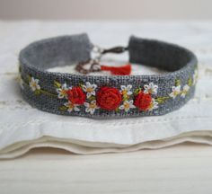Hand Embroidered Floral Cuff - Orange Roses and Gray Linen Bracelet in Fall Colors