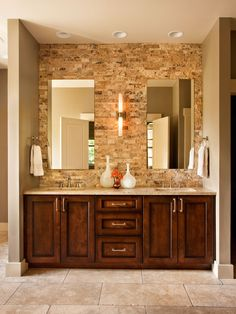 Traditional bathroom 138907969731383250 - 27 Absolutely Gorgeous Bathroom Design Ideas With Brick Walls Source by Jack And Jill Bathroom, Double Sink Bathroom, Bathroom Sink Vanity, Master Bathroom, Double Sinks, Bathroom Cabinets, Double Vanity, Wood Cabinets, Wood Vanity