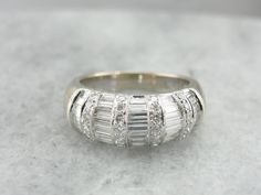 Contemporary Diamond Cocktail Ring in 18K White Gold by MSJewelers