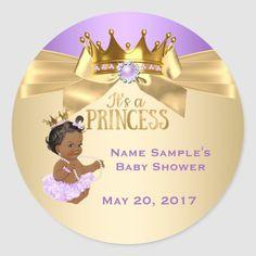 Pegatina Redonda Lilac Gold Ballerina Princesa Baby Shower Étnica