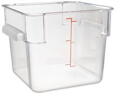 "Carlisle 10722-07 6 qt Capacity, 8.75"" Length x 8.75"" Width x 7.31"" Height, Clear Color, Polycarbonate StorPlus Square Food Container by Carlisle. $9.77. Smooth interior finish with spoonable bottom helps prevent food waste, makes clean-up easy. Wide recessed handles provide maximum grip without sacrificing shelf space. Capacity indicators allow measuring, prepping, and portioning in a single container for added versatility, efficiency, and inventory control. Date indicat..."
