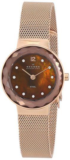 Skagen Women's 456SRR1 Leonora Quartz 2 Hand Stainless Steel Rose Gold Watch