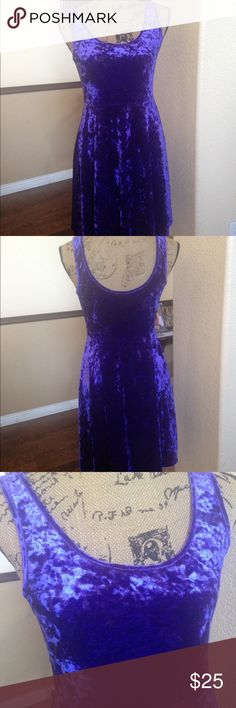 NWT Purple Crushed Velvet Dress Brand new! If you like crushed velvet, then this is for you. It's very pretty. The pictures look blue, I was unable to get a good spot to show you the true color. Please see all pictures, and read all the information prior to purchasing. 1. Smoke Free Home 2. I do have puppies, they are not allowed in my office, but a stray hair may transfer onto me. Nollie Dresses Midi