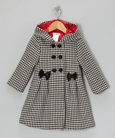 Joe-Ella Black & White Houndstooth Hooded Swing Coat - Toddler & Girls | Something special every day