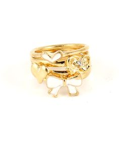 Cute Skinny Love gold & white stack rings great for Secret Santa gifts and stocking fillers