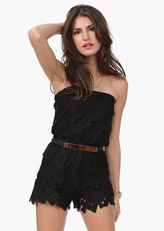 Jessie Crochet Romper in Black or White
