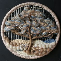 Vintage Weaving Round Tree Nature Landscape Natural From Nowvintage on Etsy Weaving Wall Hanging, Weaving Art, Weaving Patterns, Tapestry Weaving, Loom Weaving, Crochet Flower Patterns, Embroidery Patterns, Circular Weaving, Dorset Buttons