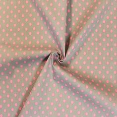 Wunderschöner #Punktestoff in hellgrau mit rosa Punkten