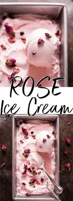 Rose Ice Cream But can it be vegan? This rose ice cream is a delicious treat that's delicately flavored with rose water and vanilla. A simple recipe that can easily be made in your ice cream maker. No Churn Ice Cream, Ice Cream Maker, Frozen Desserts, Frozen Treats, Rose Ice Cream, Cream Cream, Think Food, Ice Ice Baby, Popsicle Recipes