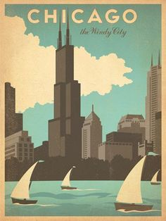 Chicago, the Windy City. Did you know that Chicago was named the Windy City because of it's politicians and their long-winded speeches? Skyline Von Chicago, Old Poster, Gropius Bau, Chicago Poster, Chicago Art, Arte Peculiar, Plakat Design, Kunst Poster, Travel Box