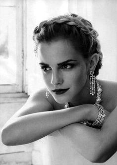Emma Watson love the hair & makeup perfect for vintage themed restaurant