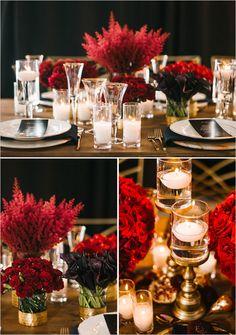 red flower centerpieces | A Red Wedding Decor Ideas