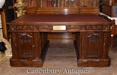 Presidents Desk in Mahogany - HMS Resolute Partners Desk Oval Office White House Resolute Desk, Partners Desk, Cubby Hole, Oval Office, Swivel Office Chair, White Desks, American Presidents, Wood Desk, Cubbies