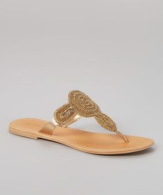 This Gold Mimosa Leather Sandal is perfect! #zulilyfinds