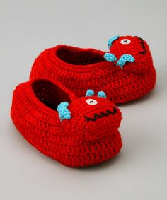 Red One-Eyed Monster Crochet Booties by Best of Chums