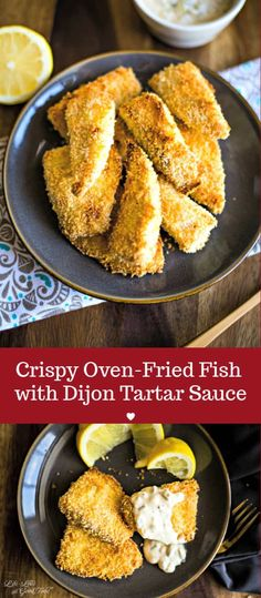 Crispy Oven-Fried Fish with Dijon Tartar Sauce, This healthy oven baked fish recipe calls for a one-two-three dredging process which results in a nice crunchy coating without deep frying and without the added calories! Fish Filet Recipes, Talipa Fish Recipes, Air Fryer Fish Recipes, Seafood Recipes, Cooking Recipes, Oven Fried Fish, Crispy Oven Fries, Baked Fish, Fries In The Oven