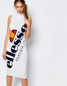 Ellesse High Neck Bodycon Dress With Full Large Logo