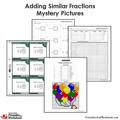 Grade Adding Fractions With Same Denominator Mystery Pictures Coloring Worksheets 4th Grade Fractions, 4th Grade Math Worksheets, Fractions Worksheets, Teacher Worksheets, Simplifying Fractions, Adding Fractions, Adding And Subtracting Fractions, Improper Fractions, Free Printable Worksheets