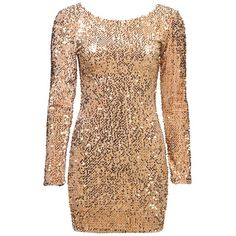 Women's Gold Gabby Sequin Dress By Motel ❤ liked on Polyvore featuring dresses, short dresses, vestidos, short gold cocktail dress, sequin embellished dress, sequined dresses and gold sequin dress