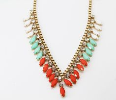 Bar III Gold-Tone Colorful Bead and Crystal Frontal Necklace #BarIII #Statement