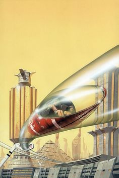 The classic artwork of UK artist Peter Elson representing a golden era of Science Fiction and Fantasy Art in the and Arte Sci Fi, Sci Fi Art, Futuristic City, Futuristic Architecture, Art Science Fiction, Ouvrages D'art, Comics Illustration, Illustrations Vintage, Future Transportation
