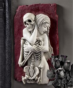 Bring gothic flair to your home with the Design Toscano Flesh and Bone Skeleton Wall Sculpture . Constructed from durable resin, this wall sculpture. Celtic Dragon, Animal Statues, Gothic House, Architecture Old, Halloween Skeletons, Red Background, Home Decor Wall Art, Wall Sculptures, Halloween Decorations