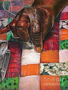 Quilting II by Curtis James - Quilting II Pastel - Quilting II Fine Art Prints and Posters for Sale African American Artwork, African Art, Ousmane Sow, Fine Art Amerika, African Quilts, Black Love Art, Black Art For Sale, Black Art Pictures, Black Artwork