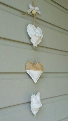 Guirlande coeurs en tissu champêtre romantique : Accessoires de maison par lestresorsdisa68