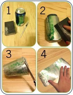 To use for tin ornament making -- cool tutorial for embossing aluminum cans. no need for fancy expensive equipment. Tin Can Art, Soda Can Art, Tin Art, Tin Foil Art, Aluminum Foil Art, Aluminum Can Crafts, Metal Crafts, Metal Projects, Craft Projects
