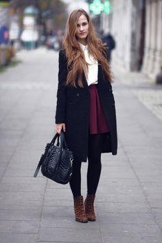 Get this look (skirt, coat, bootie) http://kalei.do/WXU4f0uW9KZ8vnRa