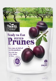 Here at Tasti we are very proud of our snacking range. Whether you're after a fruity morsel, or perhaps something baked to have with a cuppa. Or if you're just nuts about nuts, we have a delicious snack for you and the whole clan. Pitted Prunes, Sources Of Fiber, Corporate Identity, Yummy Snacks, Packaging Design, Plum, Private Label, Baking, Vegetables