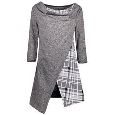 SHARE & Get it FREE | Asymmetric Plaid Trim Tunic TopFor Fashion Lovers only:80,000+ Items·FREE SHIPPING Join Dresslily: Get YOUR $50 NOW!
