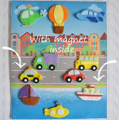 Items similar to Baby sensory board Toddler quiet toy Activity board Car play mat Busy mat Magnet toy Vehicle Air Land Water Types of transport Big size on Etsy Baby Sensory Board, Sensory Boards, Sensory Wall, Toddler Toys, Baby Toys, Car Play Mats, Montessori Books, Montessori Bedroom, Montessori Toddler