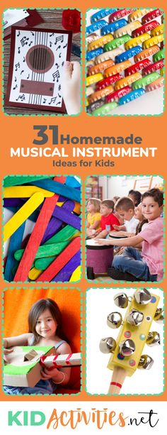 A collection of 31 homemade musical instrument ideas for kids. Enjoy the creative aspects of building and playing musical instruments with kids. This is also a great green project for kids. crafts 31 Homemade Musical Instruments Easy For Kids to Make Projects For Kids, Diy For Kids, Crafts For Kids, School Projects, Art Projects, Toddler Crafts, Music Activities, Activities For Kids, Holiday Activities