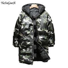 New 2017 winter fashion camouflage hooded long coat men wear on both sides thicken cotton padded jacket men parka men MF13