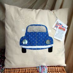 Personalised Vw Beetle Cushion Cute Pillows, Cute Cushions, Applique Patterns, Quilt Patterns, Sewing Patterns, Freehand Machine Embroidery, Fabric Pictures, Sewing Pillows, Beetle