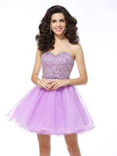 fa0761c86f9 A-Line Princess Sweetheart Ruffles Sleeveless Short Organza Cocktail Dresses  - Homecoming Dresses -