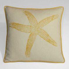Kevin O'Brien Starfish Linen Beach Decor Pillow - Yellow Sub
