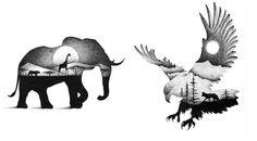 Les jolies illustrations d'animaux en double exposition et en ...