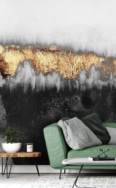 Be inspired by this made-to-measure Black Mist wallpaper. Great for avid art collectors or those who enjoy all things beautiful. This industrial effect wallpaper would look amazing in your living room above your sofa or in your bedroom behind your bedhead. It would make a fantastic centrepiece to any room and would benefit from décor that celebrates the rich shades of black, gold and grey. Click to see this stunning collection from Wallsauce! #wallmural #wallpaper #industrial #nordicliving
