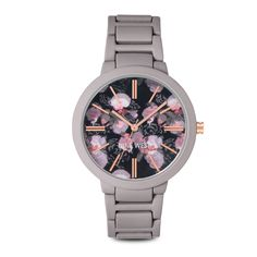 A dusty purple round rubber case surrounds a floral-filled dial with rose gold-tone indices marking the hours.