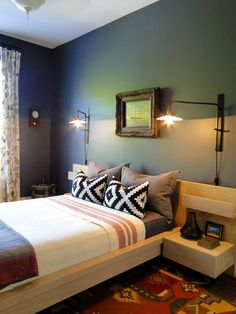 Artfully done Modern Apartment- don't like the wall frame but everything else is fabulous. Love the bed lamps