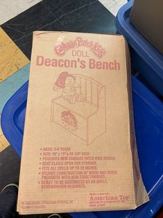 Wooden bench never put together ! Still I'm original box and packaging ! Brand new Deacons Bench, Cabbage Patch Kids Dolls, Packaging, Box, Design, Snare Drum, Wrapping