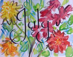 July-Calligraphy Watercolor, V. Atkinson, 2015.