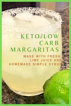 THESE ARE SOOOO GOOD! Made with all natural ingredients, they are sugarfree, and less than 3 carbs per serving! Plus I make my own keto simple syrup so no store bought margarita mix that tastes gross! Check it out! #ketomargaritas #lowcarbmargaritas #ketosimplesyrup #lowcarbsimplesyrup #sugarfreemargaritas