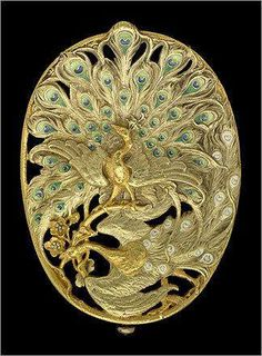 Art Nouveau Belt Buckle With Two Peacocks, 1900's by Georges Fouquet | JV