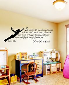 Peter Pan Wall Decal Art Sticker Decor Quote Vinyl never never land Kids Childrens on Etsy, $29.99