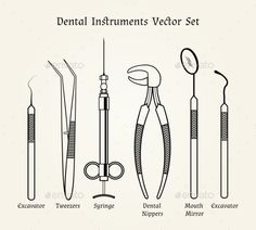Medical Equipment In Retro by on GraphicRiver. Medical equipment in retro style. Dental mirror, nippers and syringe, tweezers and exacavator,. Dental Tools Names, Dental Assistant Study, Dentist Logo, Dental Anatomy, Dental Art, Teeth Care, Medical Equipment, Instruments, Vintage
