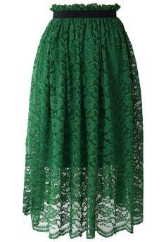 Emerald Green Full Lace Midi Skirt